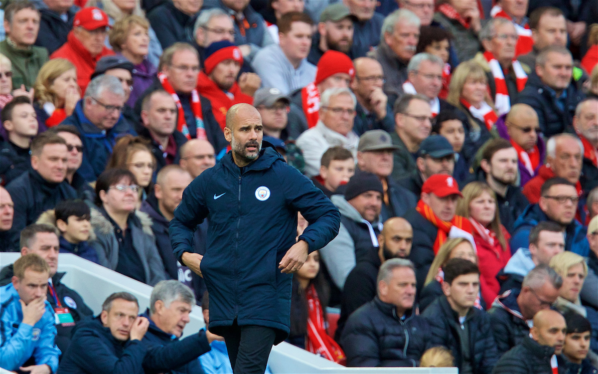 LIVERPOOL, ENGLAND - Sunday, October 7, 2018: Manchester City's manager Pep Guardiola during the FA Premier League match between Liverpool FC and Manchester City FC at Anfield. (Pic by David Rawcliffe/Propaganda)