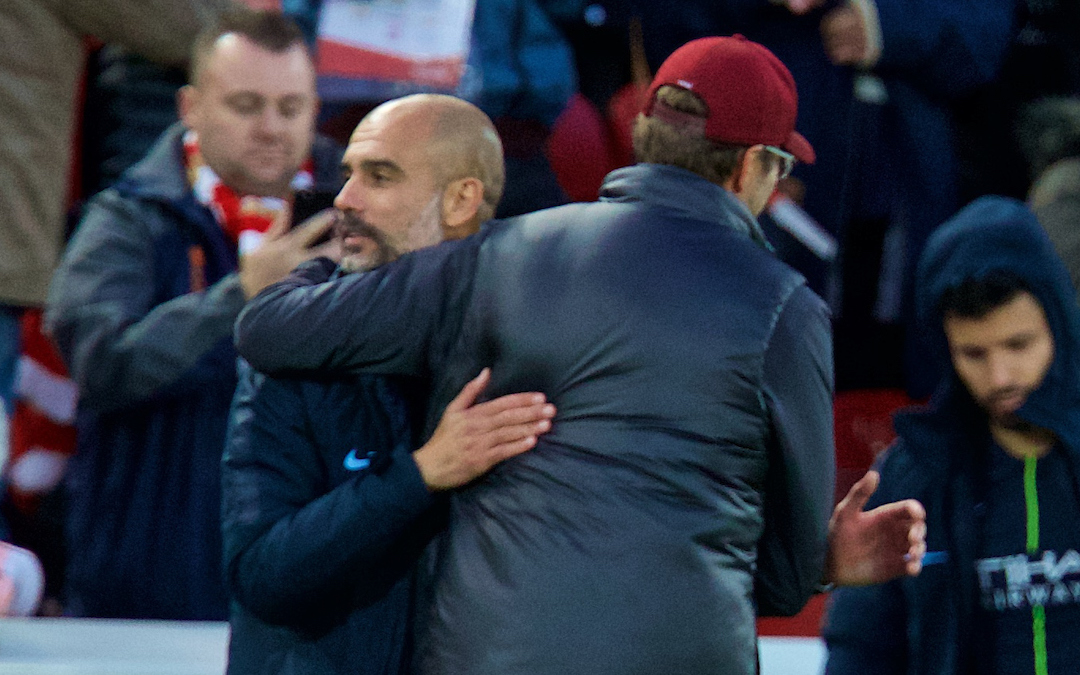 LIVERPOOL, ENGLAND - Sunday, October 7, 2018: Liverpool's manager J¸rgen Klopp and Manchester City's manager Pep Guardiola after the FA Premier League match between Liverpool FC and Manchester City FC at Anfield. (Pic by David Rawcliffe/Propaganda)