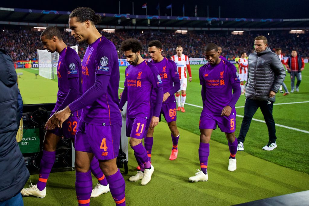BELGRADE, SERBIA - Tuesday, November 6, 2018: Liverpool's Joel Matip, Virgil van Dijk, Mohamed Salah, Trent Alexander-Arnold and Georginio Wijnaldum walk to the tunnel at half-time with their side losing 2-0 during the UEFA Champions League Group C match between FK Crvena zvezda (Red Star Belgrade) and Liverpool FC at Stadion Rajko Miti?. (Pic by David Rawcliffe/Propaganda)