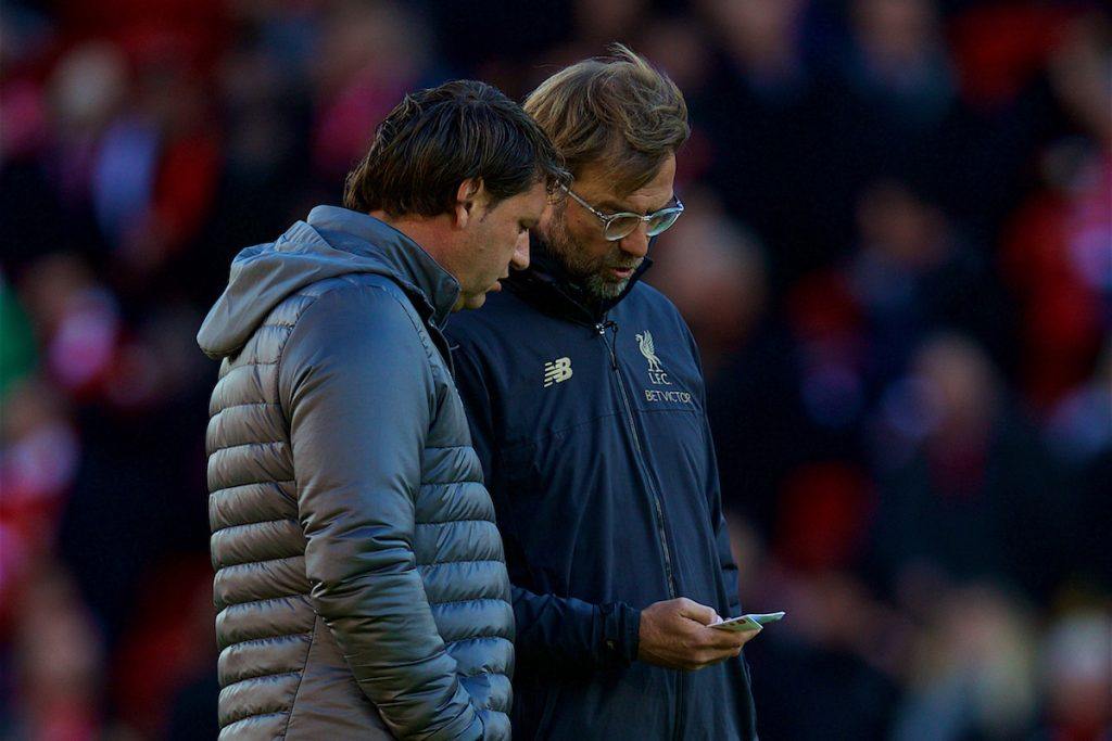 LIVERPOOL, ENGLAND - Sunday, November 11, 2018: Liverpool's manager J¸rgen Klopp (R) and first team coach Peter Krawietz during the FA Premier League match between Liverpool FC and Fulham FC at Anfield. (Pic by David Rawcliffe/Propaganda)