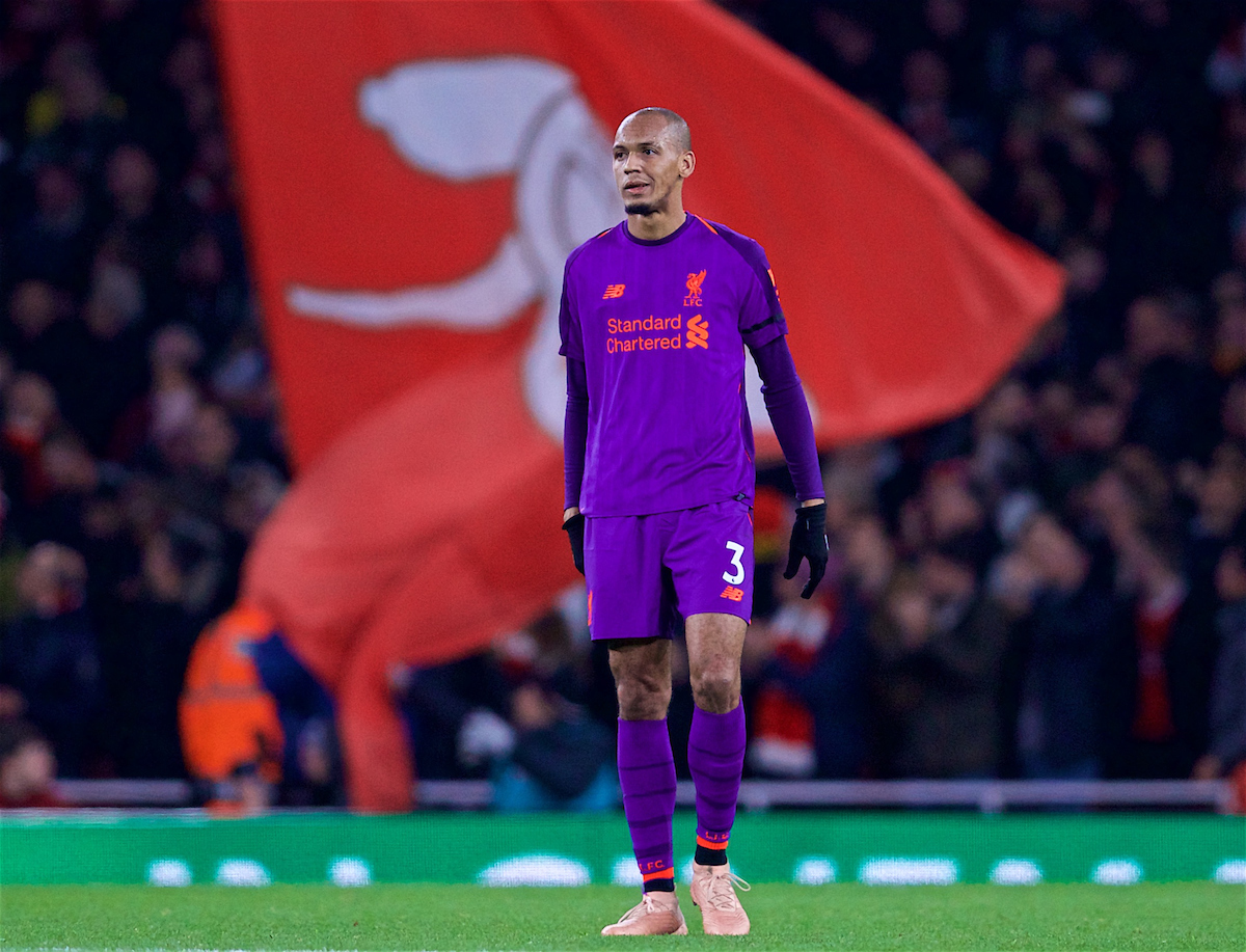 LONDON, ENGLAND - Saturday, November 3, 2018: Liverpool's Fabio Henrique Tavares 'Fabinho' looks dejected as Arsenal scored an equalising goal during the FA Premier League match between Arsenal FC and Liverpool FC at Emirates Stadium. (Pic by David Rawcliffe/Propaganda)