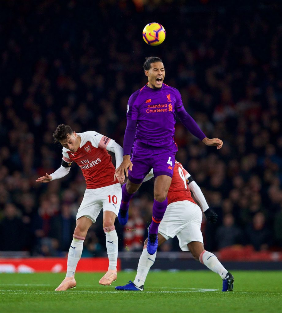 LONDON, ENGLAND - Saturday, November 3, 2018: Liverpool's captain Virgil van Dijk during the FA Premier League match between Arsenal FC and Liverpool FC at Emirates Stadium. (Pic by David Rawcliffe/Propaganda)