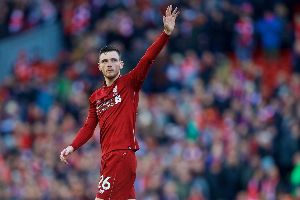 LIVERPOOL, ENGLAND - Sunday, November 11, 2018: Liverpool's Andy Robertson waves to the Kop as they sing his name after the 2-0 victory over Fulham during the FA Premier League match between Liverpool FC and Fulham FC at Anfield. (Pic by David Rawcliffe/Propaganda)