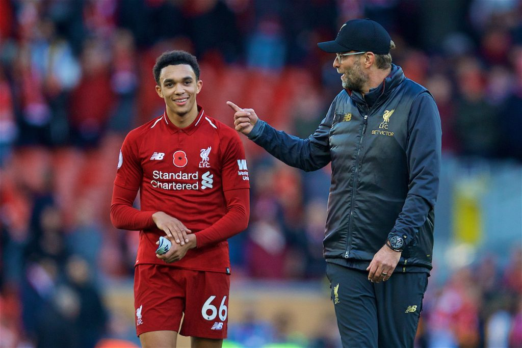 LIVERPOOL, ENGLAND - Sunday, November 11, 2018: Liverpool's Trent Alexander-Arnold (L) and manager Jürgen Klopp after the 2-0 victory over Fulham during the FA Premier League match between Liverpool FC and Fulham FC at Anfield. (Pic by David Rawcliffe/Propaganda)