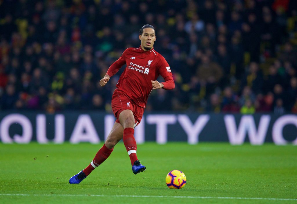 WATFORD, ENGLAND - Saturday, November 24, 2018: Liverpool's Virgil van Dijk during the FA Premier League match between Watford FC and Liverpool FC at Vicarage Road. (Pic by David Rawcliffe/Propaganda)