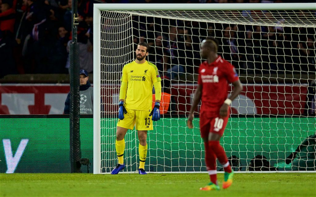 PARIS, FRANCE - Wednesday, November 28, 2018: Liverpool's goalkeeper Alisson Becker looks dejected after conceding the first goal during the UEFA Champions League Group C match between Paris Saint-Germain and Liverpool FC at Parc des Princes. (Pic by David Rawcliffe/Propaganda)