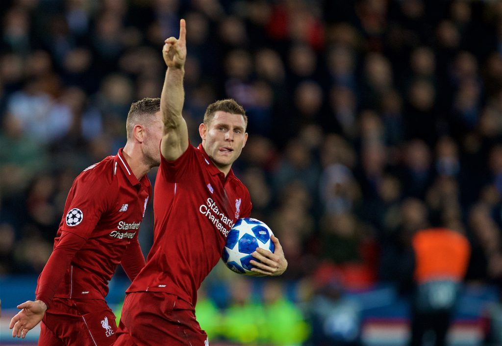 PARIS, FRANCE - Wednesday, November 28, 2018: Liverpool's captain James Milner celebrates scoring the first goal during the UEFA Champions League Group C match between Paris Saint-Germain and Liverpool FC at Parc des Princes. (Pic by David Rawcliffe/Propaganda)