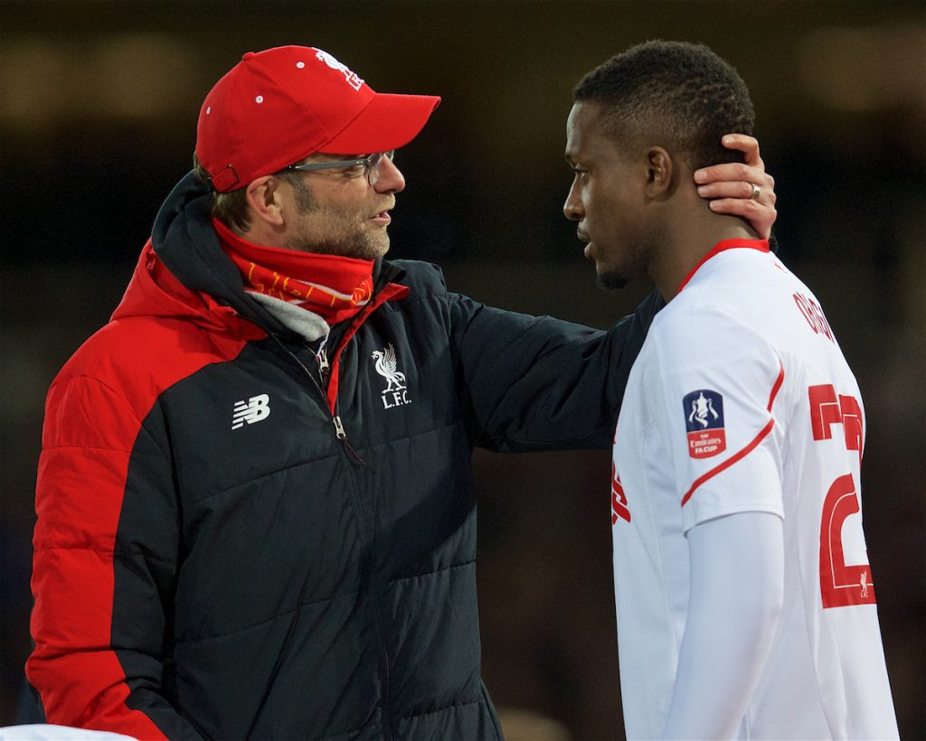 LONDON, ENGLAND - Tuesday, February 9, 2016: Liverpool's manager Jürgen Klopp and Divock Origi during the FA Cup 4th Round Replay match against West Ham United at Upton Park. (Pic by David Rawcliffe/Propaganda)