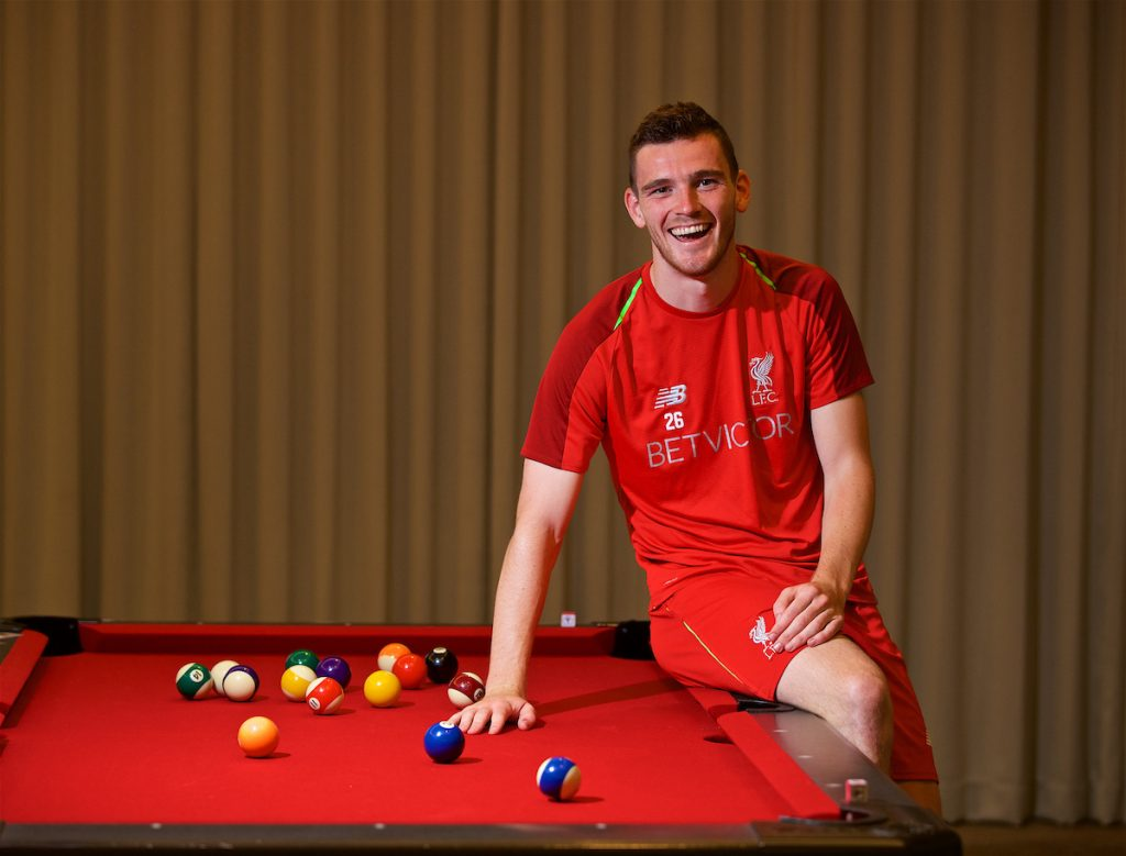 CHARLOTTE, USA - Monday, July 23, 2018: Liverpool's Andy Robertson poses for a portrait after an interview with the Anfield Wrap podcast at the team's Westin Hotel in Charlotte during International Champions Cup preseason tournament. (Pic by David Rawcliffe/Propaganda)
