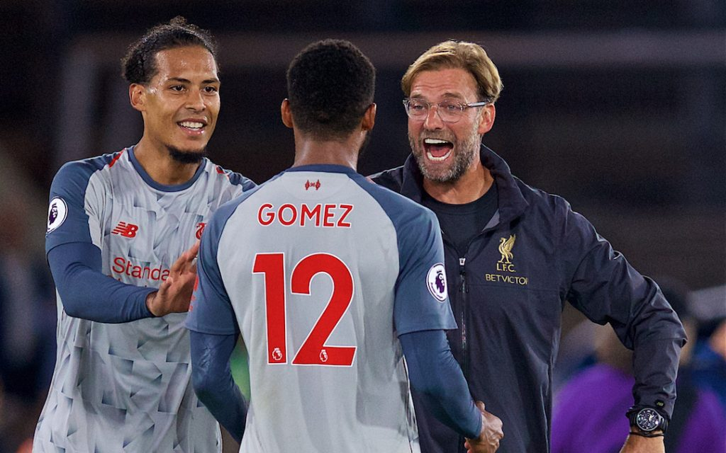 LONDON, ENGLAND - Monday, August 20, 2018: Liverpool's manager J¸rgen Klopp celebrates with Virgil van Dijk (L) and Joe Gomez (C) after the FA Premier League match between Crystal Palace and Liverpool FC at Selhurst Park. Liverpool won 2-0. (Pic by David Rawcliffe/Propaganda)