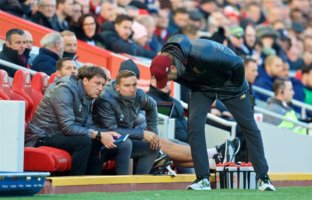 LIVERPOOL, ENGLAND - Saturday, October 27, 2018: Liverpool's manager Jürgen Klopp consults first team coach Peter Krawietz (L) an first-team development coach Pepijn Lijnders (C) during the FA Premier League match between Liverpool FC and Cardiff City FC at Anfield. (Pic by David Rawcliffe/Propaganda)