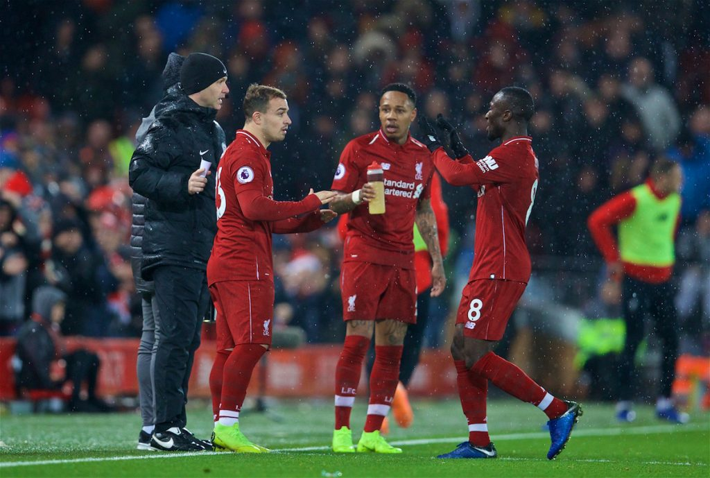 LIVERPOOL, ENGLAND - Sunday, December 16, 2018: Liverpool's Naby Keita is replaced by substitute Xherdan Shaqiri during the FA Premier League match between Liverpool FC and Manchester United FC at Anfield. (Pic by David Rawcliffe/Propaganda)
