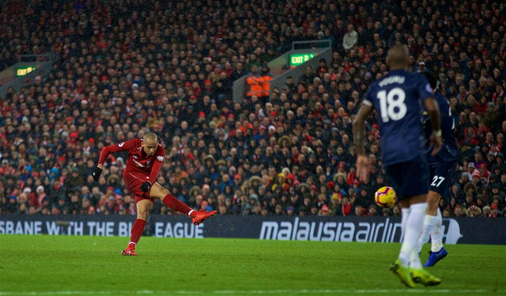 LIVERPOOL, ENGLAND - Sunday, December 16, 2018: Liverpool's Fabio Henrique Tavares 'Fabinho' shoots during the FA Premier League match between Liverpool FC and Manchester United FC at Anfield. (Pic by David Rawcliffe/Propaganda)