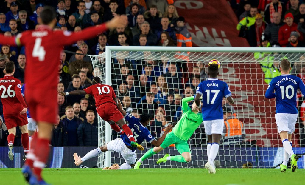 LIVERPOOL, ENGLAND - Sunday, December 2, 2018: Liverpool's Sadio Mane sees his shot go over the bar during the FA Premier League match between Liverpool FC and Everton FC at Anfield, the 232nd Merseyside Derby. (Pic by Paul Greenwood/Propaganda)