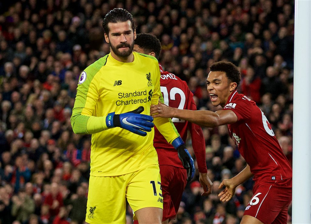 LIVERPOOL, ENGLAND - Sunday, December 2, 2018: Liverpool's Trent Alexander-Arnold congratulates goalkeeper Alisson Becker on a save during the FA Premier League match between Liverpool FC and Everton FC at Anfield, the 232nd Merseyside Derby. (Pic by Paul Greenwood/Propaganda)
