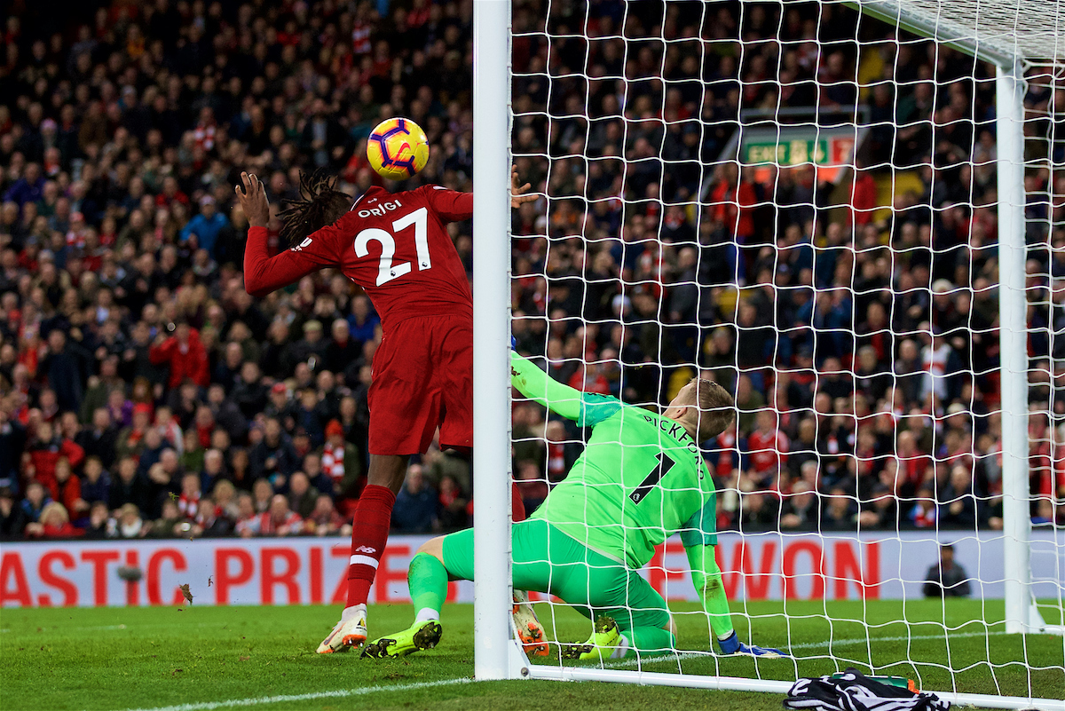 LIVERPOOL, ENGLAND - Sunday, December 2, 2018: Liverpool's substitute Divock Origi scores the winning goal deep into injury time after a terrible error by Everton's goalkeeper Jordan Pickford during the FA Premier League match between Liverpool FC and Everton FC at Anfield, the 232nd Merseyside Derby. Liverpool won 1-0. (Pic by Paul Greenwood/Propaganda)