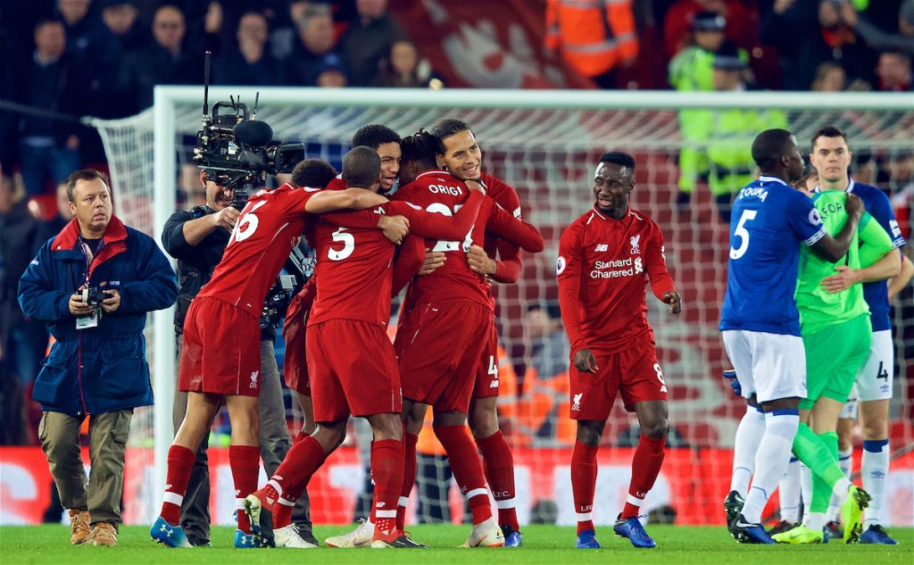 LIVERPOOL, ENGLAND - Sunday, December 2, 2018: Liverpool players celebrate after a dramatic late injury time winning goal from Divock Origi during the FA Premier League match between Liverpool FC and Everton FC at Anfield, the 232nd Merseyside Derby. Liverpool won 1-0. (Pic by Paul Greenwood/Propaganda)