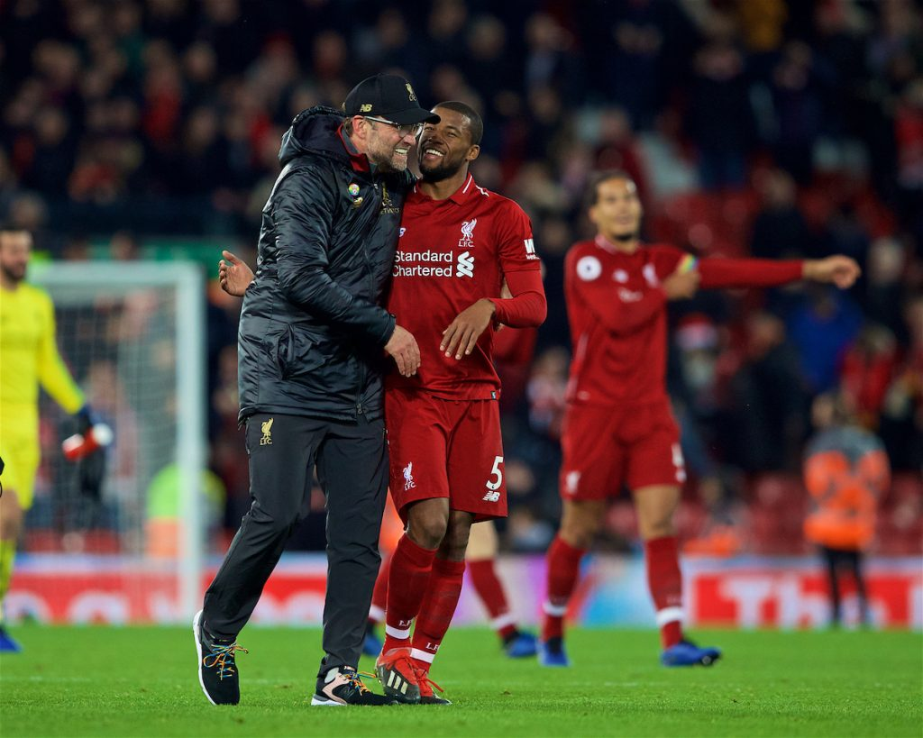 LIVERPOOL, ENGLAND - Sunday, December 2, 2018: Liverpool's manager Jürgen Klopp and Georginio Wijnaldum celebrate after a dramatic late injury time victory during the FA Premier League match between Liverpool FC and Everton FC at Anfield, the 232nd Merseyside Derby. Liverpool won 1-0. (Pic by Paul Greenwood/Propaganda)