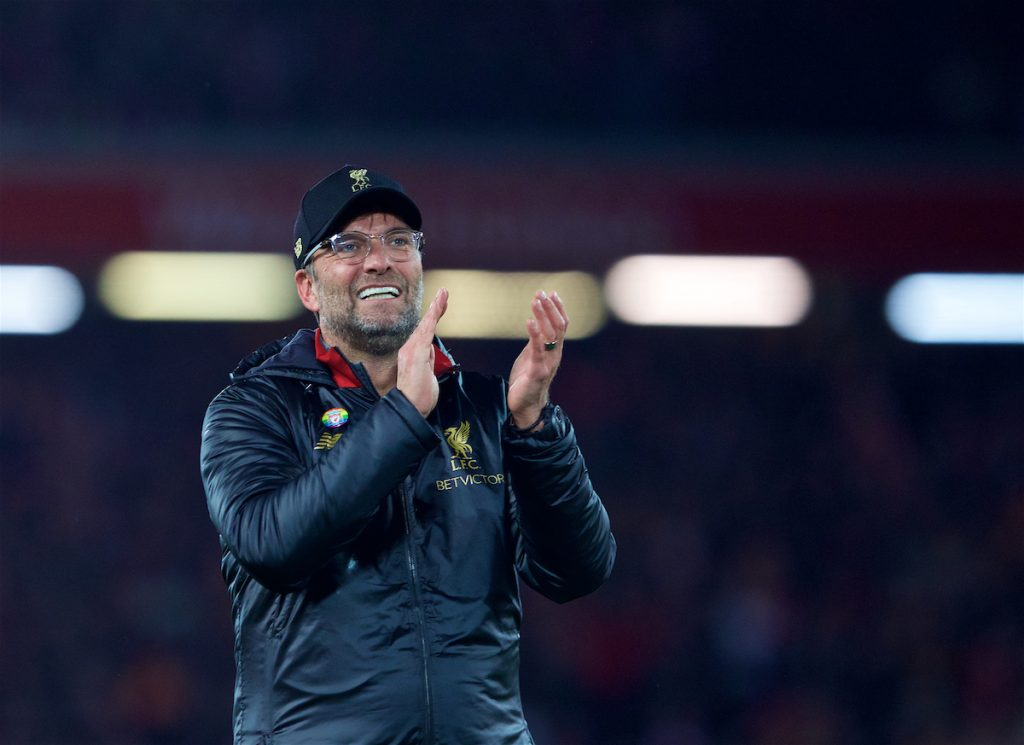 LIVERPOOL, ENGLAND - Sunday, December 2, 2018: Liverpool's manager Jürgen Klopp celebrates after a dramatic late injury time victory during the FA Premier League match between Liverpool FC and Everton FC at Anfield, the 232nd Merseyside Derby. Liverpool won 1-0. (Pic by Paul Greenwood/Propaganda)