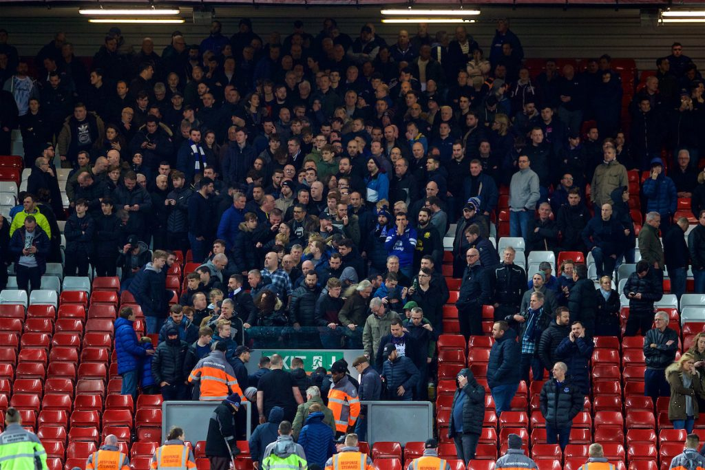 LIVERPOOL, ENGLAND - Sunday, December 2, 2018: Everton supporters head for the exits dejected after a late injury time winning goal for Liverpool during the FA Premier League match between Liverpool FC and Everton FC at Anfield, the 232nd Merseyside Derby. (Pic by Paul Greenwood/Propaganda)