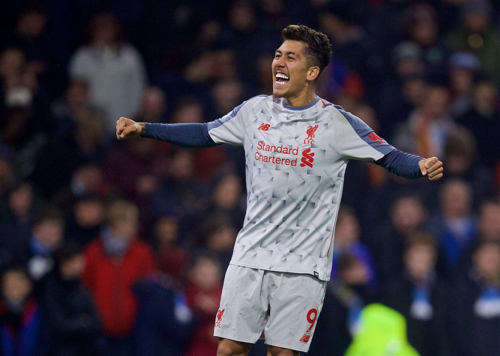 BURNLEY, ENGLAND - Wednesday, December 5, 2018: Liverpool's Roberto Firmino celebrates scoring the second goal during the FA Premier League match between Burnley FC and Liverpool FC at Turf Moor. (Pic by David Rawcliffe/Propaganda)