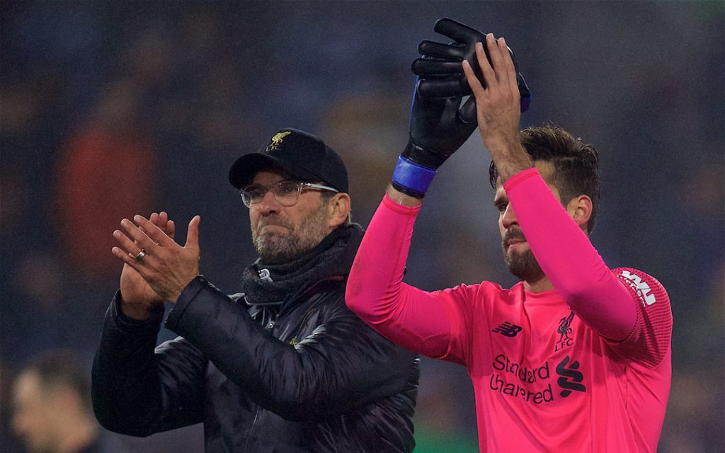 BURNLEY, ENGLAND - Wednesday, December 5, 2018: Liverpool's manager J¸rgen Klopp (L) and goalkeeper Alisson Becker celebrate during the FA Premier League match between Burnley FC and Liverpool FC at Turf Moor. Liverpool 3-1. (Pic by David Rawcliffe/Propaganda)