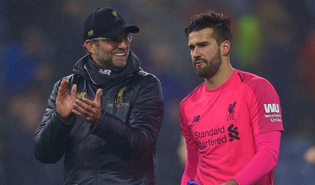 BURNLEY, ENGLAND - Wednesday, December 5, 2018: Liverpool's manager Jürgen Klopp (L) and goalkeeper Alisson Becker celebrate during the FA Premier League match between Burnley FC and Liverpool FC at Turf Moor. Liverpool 3-1. (Pic by David Rawcliffe/Propaganda)