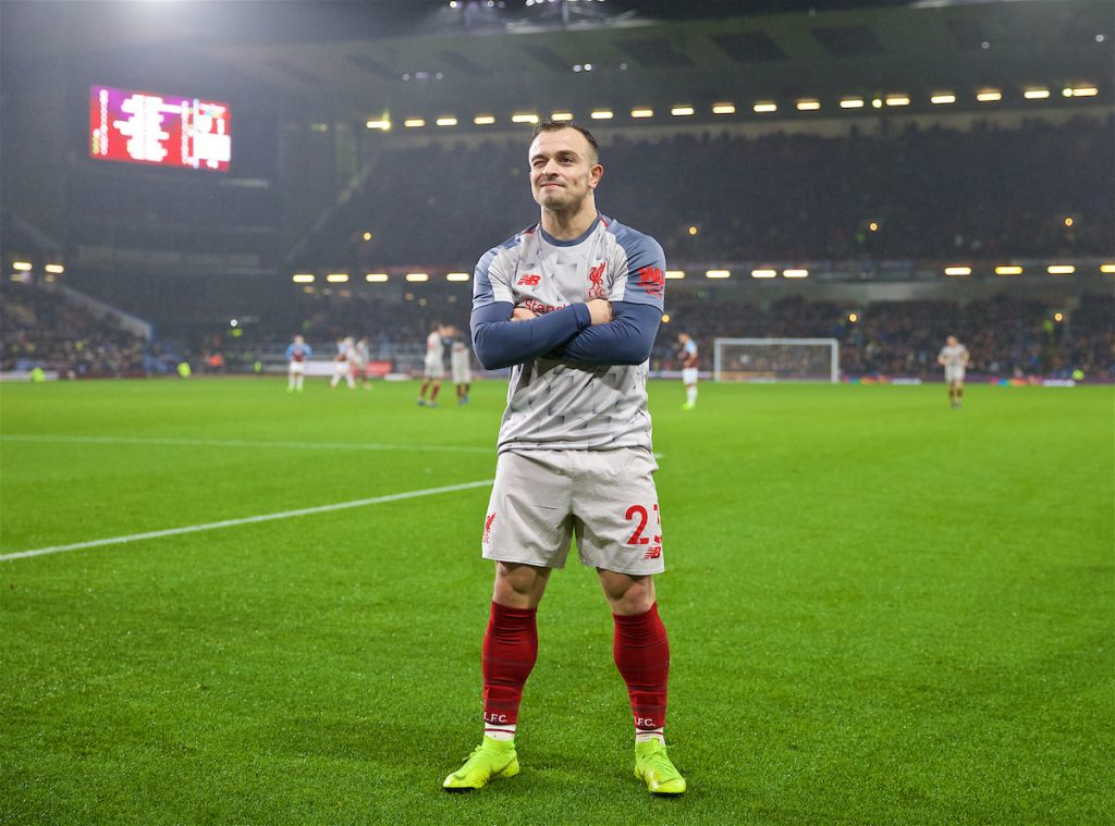 BURNLEY, ENGLAND - Wednesday, December 5, 2018: Liverpool's Xherdan Shaqiri celebrates scoring the third goal during the FA Premier League match between Burnley FC and Liverpool FC at Turf Moor. (Pic by David Rawcliffe/Propaganda)