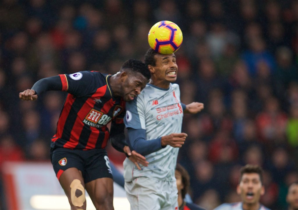 BOURNEMOUTH, ENGLAND - Saturday, December 8, 2018: AFC Bournemouth's Jefferson Lerma (L) and Liverpool's Joel Matip during the FA Premier League match between AFC Bournemouth and Liverpool FC at the Vitality Stadium. (Pic by David Rawcliffe/Propaganda)
