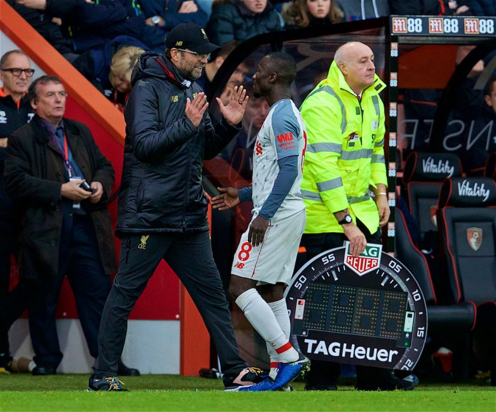 BOURNEMOUTH, ENGLAND - Saturday, December 8, 2018: Liverpool's manager Jürgen Klopp speaks to Naby Keita after substituting him during the FA Premier League match between AFC Bournemouth and Liverpool FC at the Vitality Stadium. (Pic by David Rawcliffe/Propaganda)