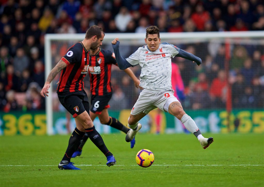 BOURNEMOUTH, ENGLAND - Saturday, December 8, 2018: Liverpool's Roberto Firmino during the FA Premier League match between AFC Bournemouth and Liverpool FC at the Vitality Stadium. (Pic by David Rawcliffe/Propaganda)