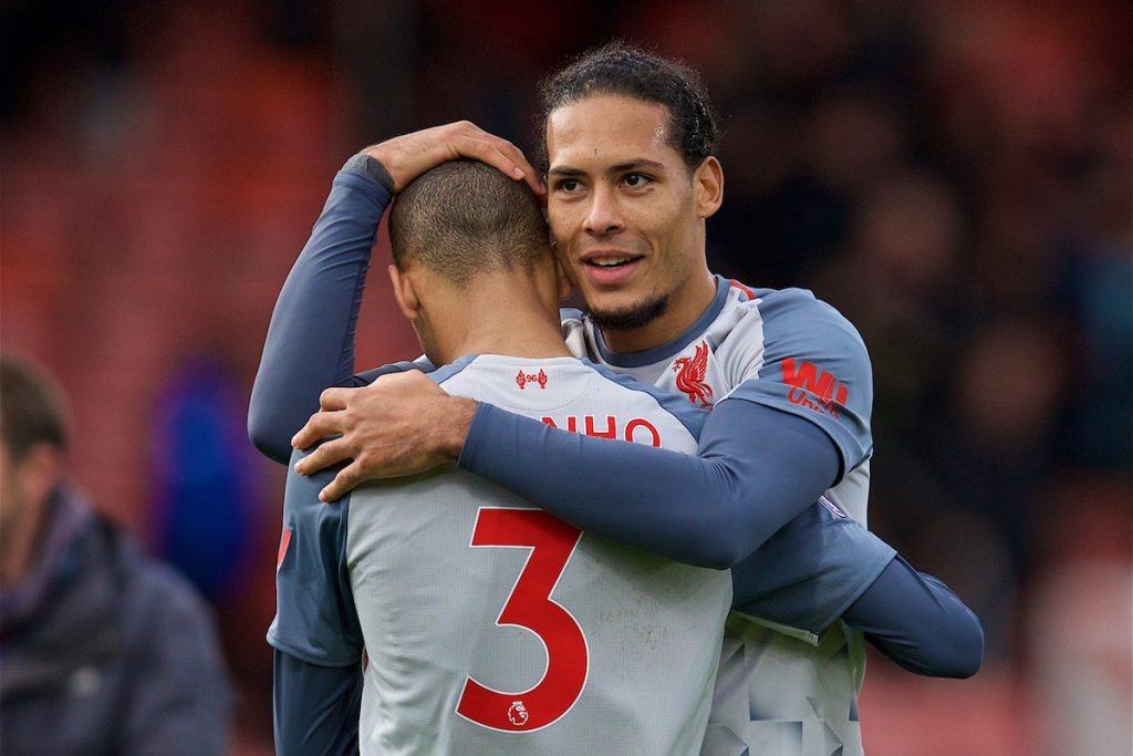 BOURNEMOUTH, ENGLAND - Saturday, December 8, 2018: Liverpool's Fabio Henrique Tavares 'Fabinho' (3) and Virgil van Dijk celebrate after the 4-0 victory over AFC Bournemouth during the FA Premier League match between AFC Bournemouth and Liverpool FC at the Vitality Stadium. Liverpool won 4-0. (Pic by David Rawcliffe/Propaganda)