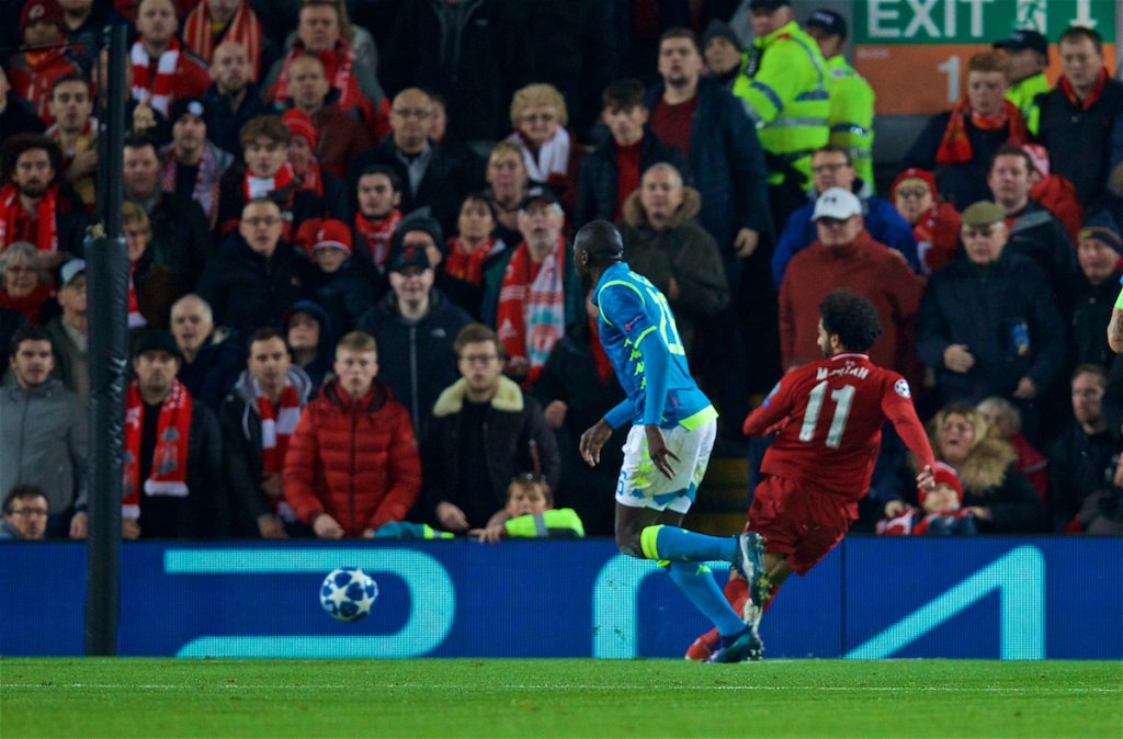 LIVERPOOL, ENGLAND - Tuesday, December 11, 2018: Liverpool's Mohamed Salah scores the first goal during the UEFA Champions League Group C match between Liverpool FC and SSC Napoli at Anfield. (Pic by David Rawcliffe/Propaganda)
