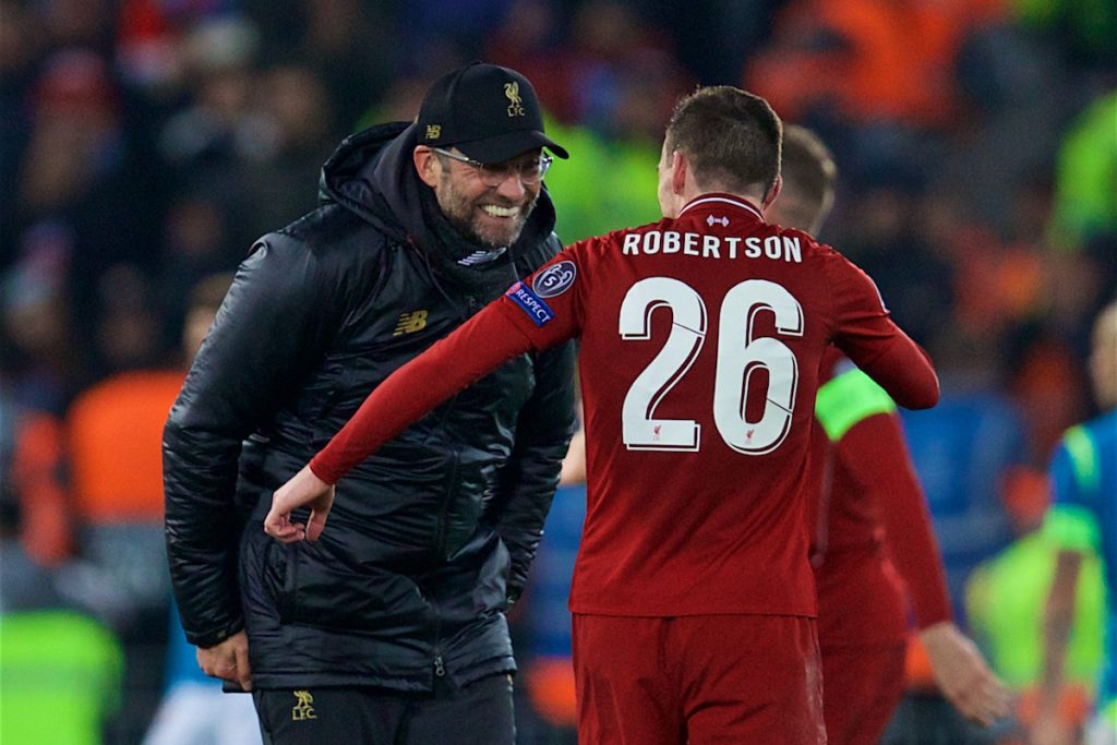 LIVERPOOL, ENGLAND - Tuesday, December 11, 2018: Liverpool's manager J¸rgen Klopp celebrates with Andy Robertson after beating SSC Napoli 1-0 and progressing to the knock-out phase during the UEFA Champions League Group C match between Liverpool FC and SSC Napoli at Anfield. (Pic by David Rawcliffe/Propaganda)