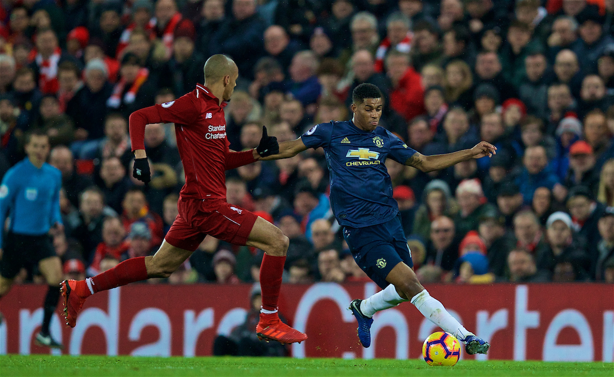 LIVERPOOL, ENGLAND - Sunday, December 16, 2018: Manchester United's Marcus Rashford (R) and Liverpool's Fabio Henrique Tavares 'Fabinho' during the FA Premier League match between Liverpool FC and Manchester United FC at Anfield. (Pic by David Rawcliffe/Propaganda)