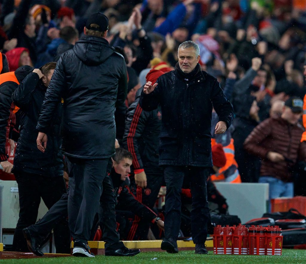 LIVERPOOL, ENGLAND - Sunday, December 16, 2018: Manchester United's manager Jose Mourinho goes to shake hands with Liverpool's manager Jürgen Klopp after the FA Premier League match between Liverpool FC and Manchester United FC at Anfield. Liverpool won 3-1. (Pic by David Rawcliffe/Propaganda)
