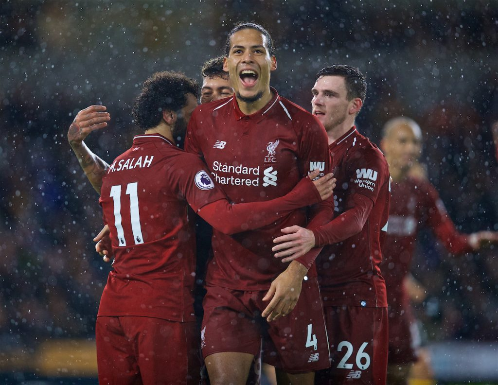 WOLVERHAMPTON, ENGLAND - Friday, December 21, 2018: Liverpool's Mohamed Salah (L) celebrates scoring the first goal with team-mate Virgil van Dijk during the FA Premier League match between Wolverhampton Wanderers FC and Liverpool FC at Molineux Stadium. (Pic by David Rawcliffe/Propaganda)