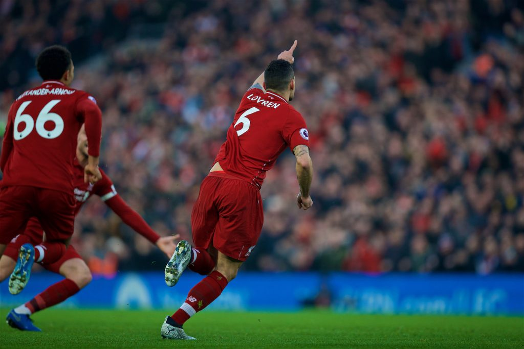 LIVERPOOL, ENGLAND - Boxing Day, Wednesday, December 26, 2018: Liverpool's Dejan Lovren celebrates scoring the first goal during the FA Premier League match between Liverpool FC and Newcastle United FC at Anfield. (Pic by David Rawcliffe/Propaganda)