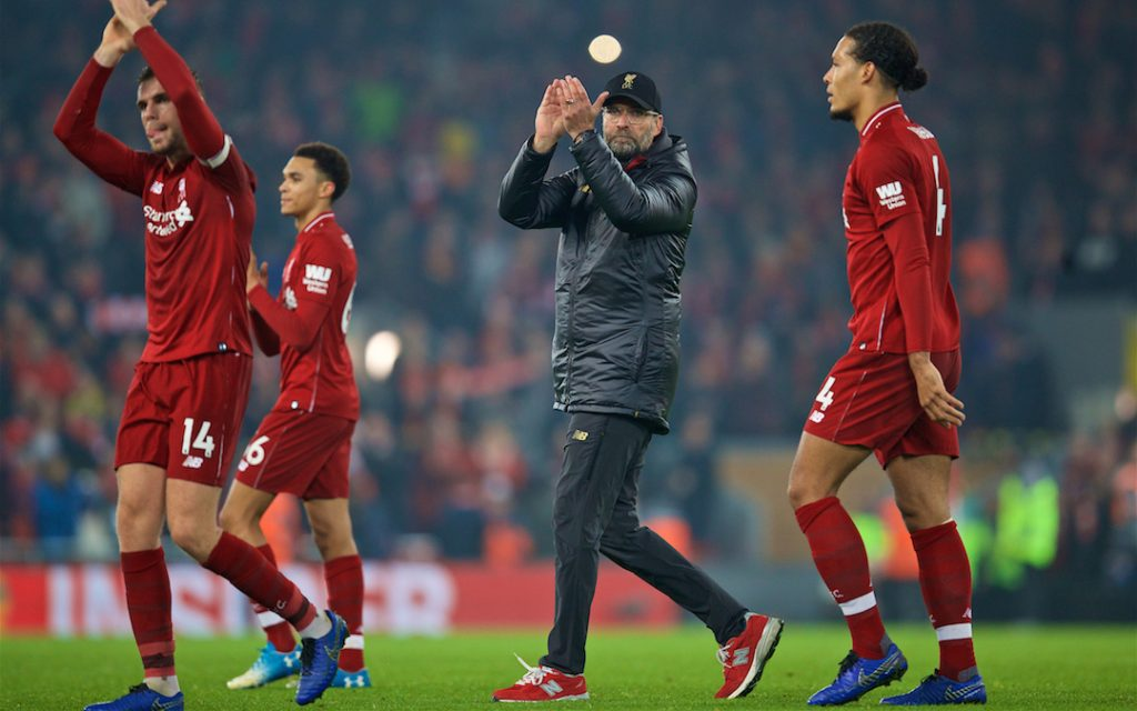 LIVERPOOL, ENGLAND - Boxing Day, Wednesday, December 26, 2018: Liverpool's manager J¸rgen Klopp celebrates after beating Newcastle United 4-0 during the FA Premier League match between Liverpool FC and Newcastle United FC at Anfield. (Pic by David Rawcliffe/Propaganda)