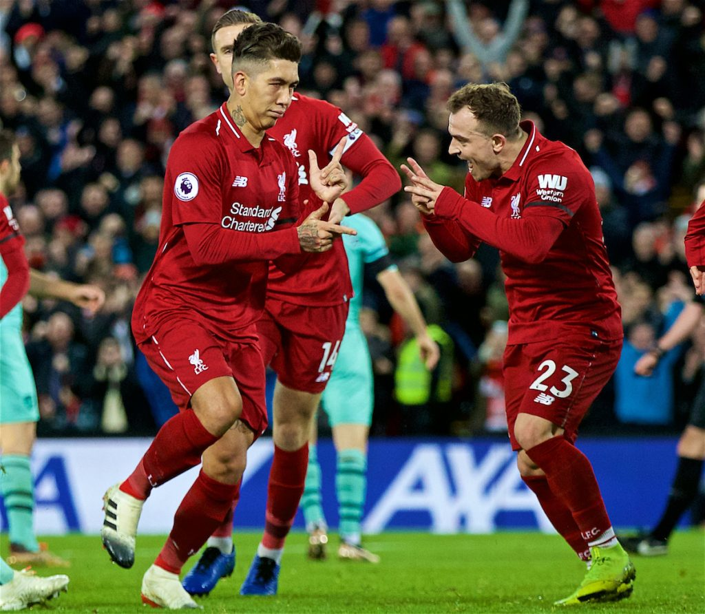 LIVERPOOL, ENGLAND - Saturday, December 29, 2018: Liverpool's Roberto Firmino scores the fifth goal with team-mates during the FA Premier League match between Liverpool FC and Arsenal FC at Anfield. (Pic by David Rawcliffe/Propaganda)