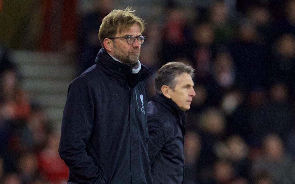 SOUTHAMPTON, ENGLAND - Wednesday, January 11, 2017: Liverpool's manager J¸rgen Klopp and Southampton's manager Claude Puel during the Football League Cup Semi-Final 1st Leg match at St. Mary's Stadium. (Pic by David Rawcliffe/Propaganda)