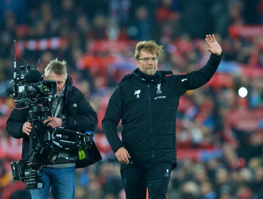 LIVERPOOL, ENGLAND - Sunday, January 14, 2018: Liverpool's manager Jürgen Klopp celebrates after his side's 4-3 victory during the FA Premier League match between Liverpool and Manchester City at Anfield. (Pic by David Rawcliffe/Propaganda)