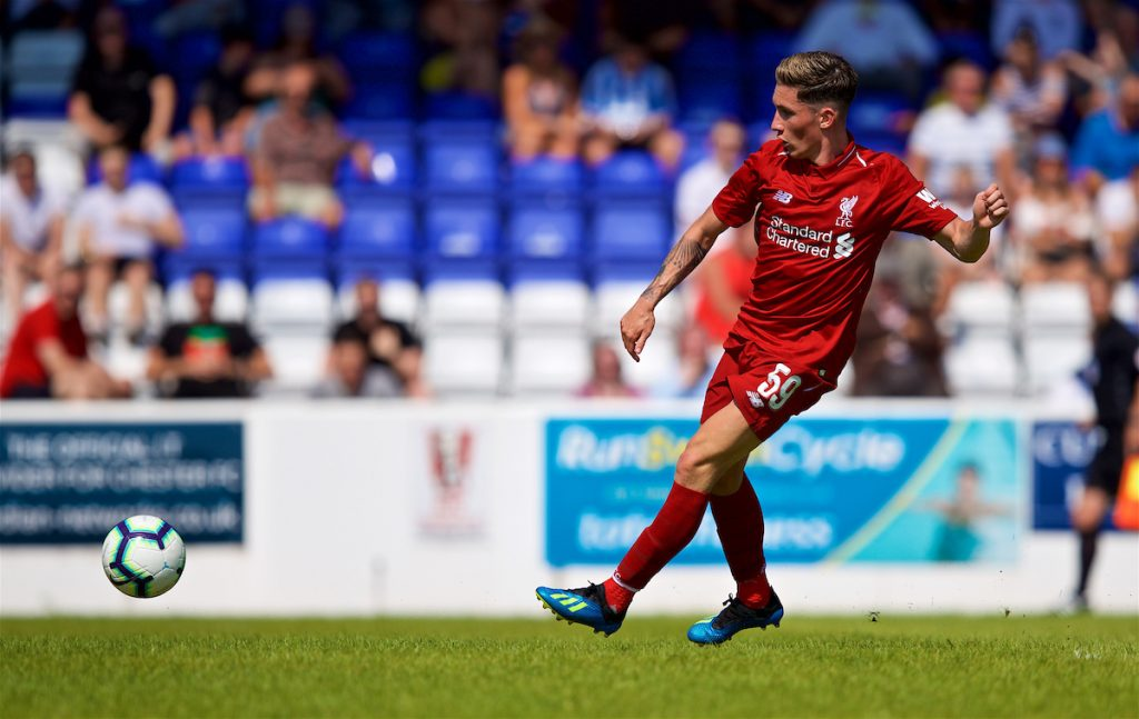 CHESTER, ENGLAND - Saturday, July 7, 2018: Liverpool's Harry Wilson scores his sides second goal during a preseason friendly match between Chester FC and Liverpool FC at the Deva Stadium. (Pic by Paul Greenwood/Propaganda)