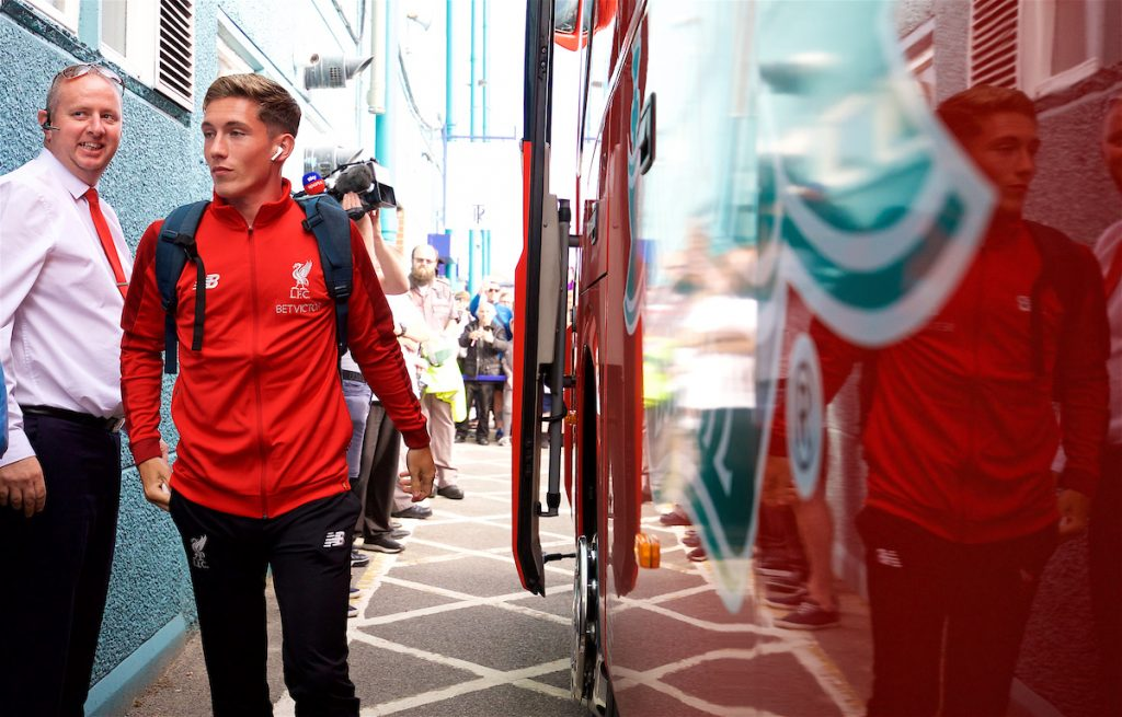 BIRKENHEAD, ENGLAND - Tuesday, July 10, 2018: Liverpool's Harry Wilson gets off the team coach, wearing Apple Airpods, before a preseason friendly match between Tranmere Rovers FC and Liverpool FC at Prenton Park. (Pic by Paul Greenwood/Propaganda)
