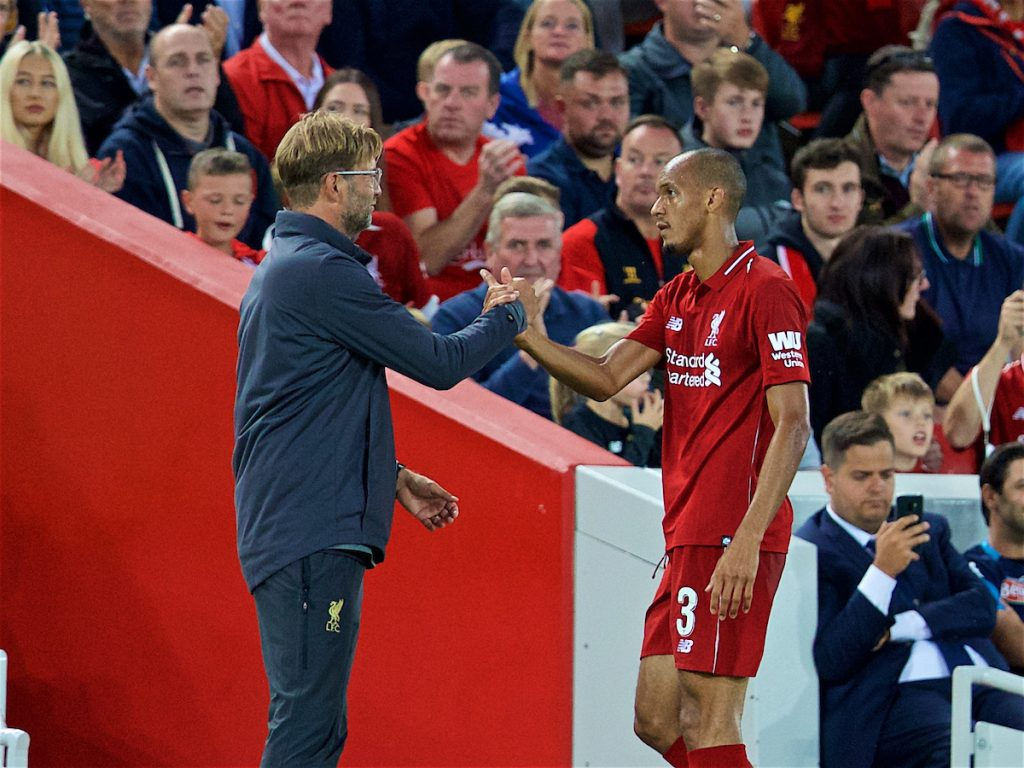 LIVERPOOL, ENGLAND - Tuesday, August 7, 2018: Liverpool's Fabio Henrique Tavares 'Fabinho' and manager Jürgen Klopp during the preseason friendly match between Liverpool FC and Torino FC at Anfield. (Pic by David Rawcliffe/Propaganda)