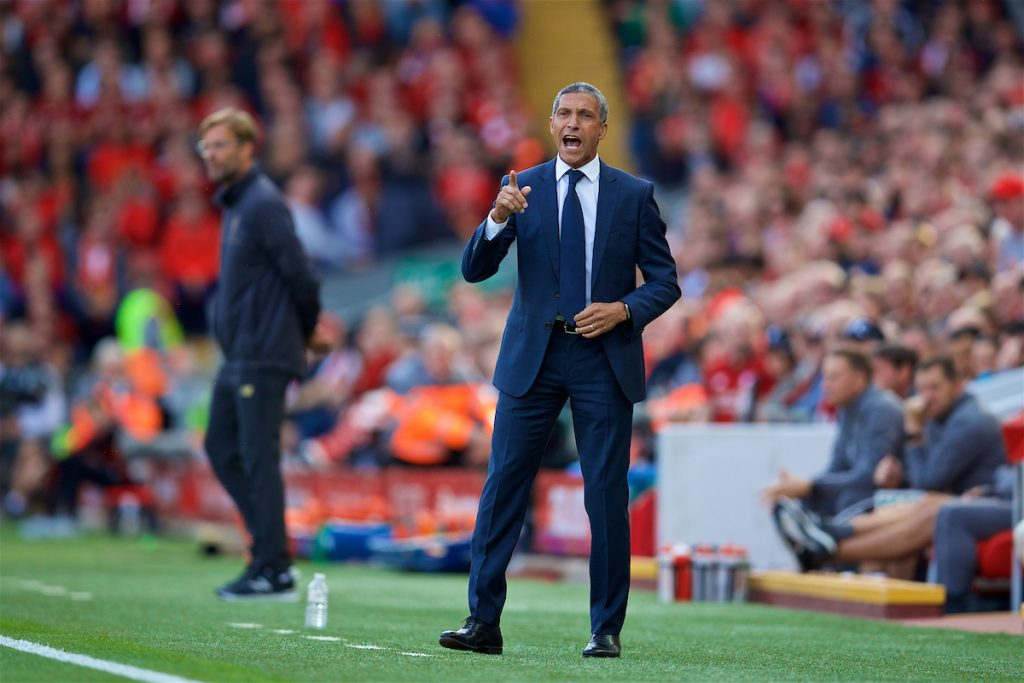 LIVERPOOL, ENGLAND - Saturday, August 25, 2018: Brighton & Hove Albion's manager Chris Hughton during the FA Premier League match between Liverpool FC and Brighton & Hove Albion FC at Anfield. (Pic by David Rawcliffe/Propaganda)