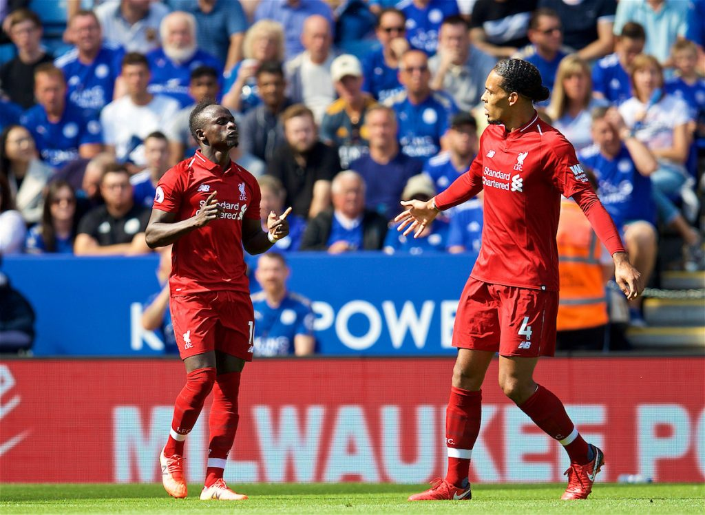 LEICESTER, ENGLAND - Saturday, September 1, 2018: Liverpool's Sadio Mane celebrates scoring the first goal during the FA Premier League match between Leicester City and Liverpool at the King Power Stadium. (Pic by David Rawcliffe/Propaganda)