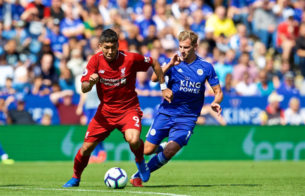 LEICESTER, ENGLAND - Saturday, September 1, 2018: Liverpool's Roberto Firmino and Leicester City'sMarc Albrighton (right) during the FA Premier League match between Leicester City and Liverpool at the King Power Stadium. (Pic by David Rawcliffe/Propaganda)
