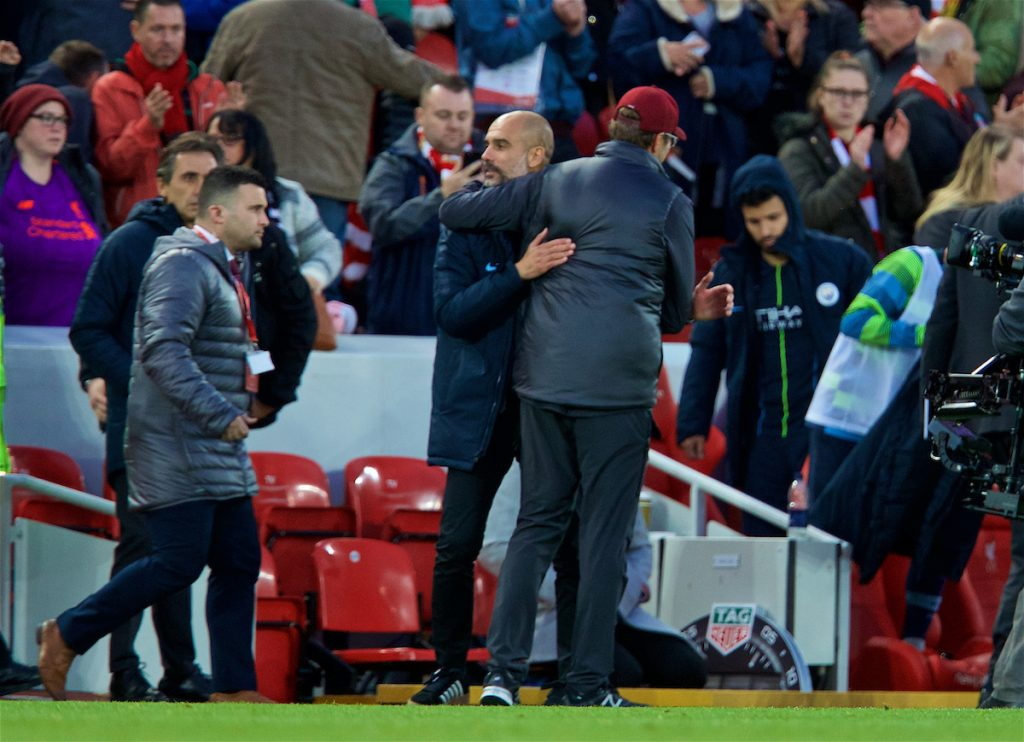 LIVERPOOL, ENGLAND - Sunday, October 7, 2018: Liverpool's manager Jürgen Klopp and Manchester City's manager Pep Guardiola after the FA Premier League match between Liverpool FC and Manchester City FC at Anfield. (Pic by David Rawcliffe/Propaganda)