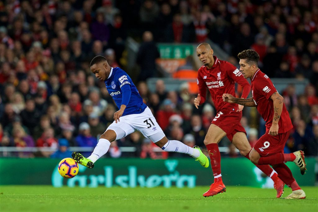 LIVERPOOL, ENGLAND - Sunday, December 2, 2018: Everton's Ademola Lookman during the FA Premier League match between Liverpool FC and Everton FC at Anfield, the 232nd Merseyside Derby. (Pic by Paul Greenwood/Propaganda)
